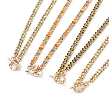 Brass Curb Chain Necklaces, with Enamel and 304 Stainless Steel Toggle Clasps, Real 18K Gold Plated, Mixed Color, 17.91~18.11 inches(45.5~46cm)(NJEW-JN03097)