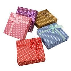 Valentines forfaits jours de cadeaux bijoux en carton ensemble des boîtes, rectangle, avec une éponge, couleur mixte, 90x70x26mm(X-CBOX-B001-M)