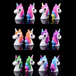 пластиковые подвески из пвх, единорог, cmешанный цвет, 44x33x14 mm, отверстия: 2 mm(X-SIL-S002-01-M)