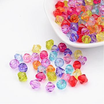 Mixed Color Chunky Dyed Transparent Acrylic Faceted Bicone Spacer Beads for Kids Jewelry, 8mm in diameter, hole: 1mm(X-DBB8mm)