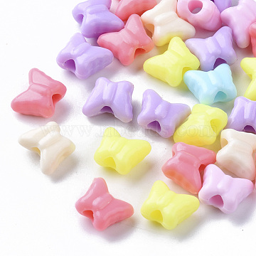 Opaque Polystyrene(PS) Plastic Beads, Butterfly, Mixed Color, 10x11.5x6mm, Hole: 3mm; about 1500pcs/500g(KY-I004-15)