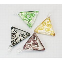 Handmade Silver Foil Glass Pendants, Triangle, Mixed Color, Size: about 44mm wide, 51mm long, 7.5mm thick, hole: 6mm wide, 4.5mm long(X-FOIL-N021-M)