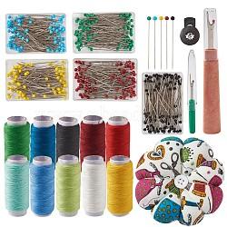 наборы швейных инструментов, с подушками из игольной ткани, штифты из нержавеющей стали, со стеклянной жемчужной головкой, разрыхлитель швов и 402 полиэфирная швейная нить, cmешанный цвет, 86x33 mm(TOOL-TA0003-14)