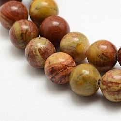 """Chapelets de perles en jaspe arc-en-ciel rouge, rond, 8mm, trou: 1mm; environ 47 pcs/chapelet, 15.3"""" (39cm).(G-E382-06-8mm)"""