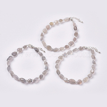 Natural Labradorite Beaded Bracelets, with Silver Color Plated Brass Findings, Chip, 6-3/4inches~6-7/8inches(17~17.5cm)(BJEW-F405-A06)