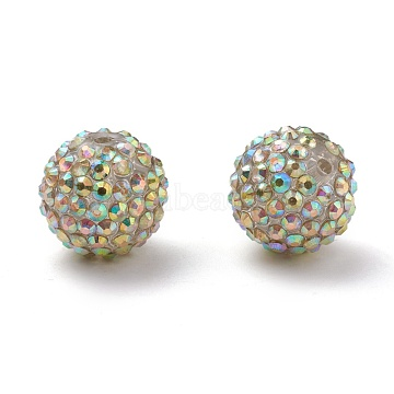Chunky Resin Rhinestone Bubblegum Ball Beads, for Basketball Wives Hoop Earrings, AB Color, Round, Clear AB, Size: about 20mm in diameter, hole: 2.5mm(RESI-A001-1)
