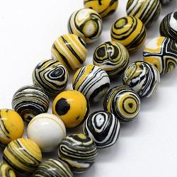 perles synthétiques malachite brins, teints, arrondir, noir, 8 mm, trou: 1 mm; environ 46 perle / brin, 14.76 (37.5 cm)(X-G-I199-32-8mm-B)