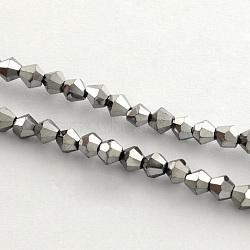 plaquent billes de verre brins, arc-en-plaqué, toupie avec facettes, argenté, 4x4.5 mm, trou: 1 mm; environ 104 perle / brin, 18(X-EGLA-R094-4mm-08)