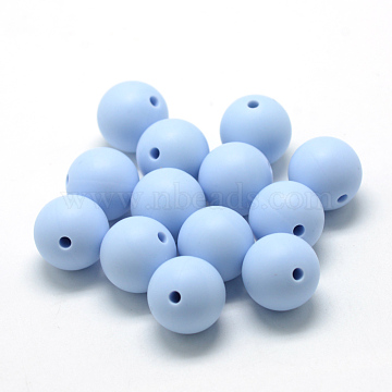 Food Grade Environmental Silicone Beads, Chewing Beads For Teethers, DIY Nursing Necklaces Making, Round, Light Steel Blue, 12mm, Hole: 2mm(X-SIL-R008B-57)