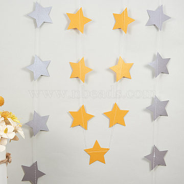 BENECREAT Hanging Paper Star, For Wedding Party Home Decoration, Mixed Color, 4000x70mm(AJEW-BC0005-08)