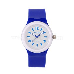 Montres-bracelet à quartz en silicone en acier inoxydable pour enfants de haute qualité 304, mediumblue, 230x25 mm; tête de montre: 48x43x13 mm(WACH-N016-06)