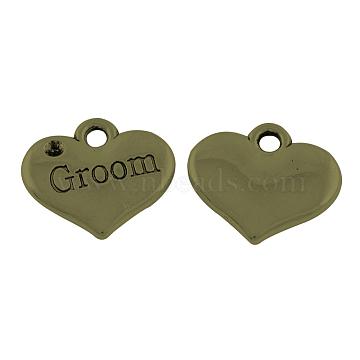 Tibetan Style Alloy Pendant Rhinestone Settings, Wedding Family Charms, Heart with Word Groom, Cadmium Free & Nickel Free & Lead Free, Antique Bronze, Fit for 1.5mm Rhinestone; 14x16x2.5mm, Hole: 2mm(X-TIBEP-GC207-AB-NR)