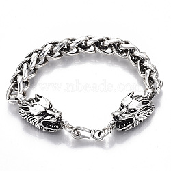 Men's Alloy Wheat Chain Bracelets, Dragon, Antique Silver, 8-7/8inches(22.5cm)(X-BJEW-T014-07AS)