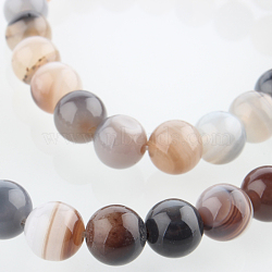 Natural Gemstone Botswana Agate Round Bead Strands, 8mm, Hole: 1mm; about 49pcs/strand, 14.96
