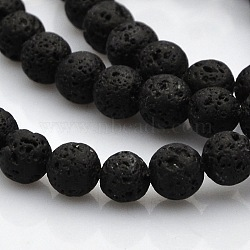 """Chapelets de perles rondes en lave naturelle, 5.5~6.5mm, trou: 1mm; environ 61 pcs/chapelet, 15.7""""(G-N0120-18-6mm)"""