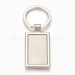 trousseau de paramètres de cabochon en alliage de zinc, avec anneau en fer, rectangle, platine, plateau: 21x36 mm; 79 mm; 52x27.5x4 mm; 1 pc / box(KEYC-E028-09P)