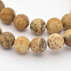 """Chapelets de perles en jaspe avec images naturelles, mat, rond, 8mm, trou: 1mm; environ 48 pcs/chapelet, 15.3""""(G-G735-16F-8mm)"""