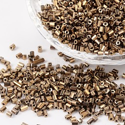 Tube Plated Glass Bugle Beads, Metallic Colours, Copper Plated, 2~3x2mm, Hole: 1mm; about 2222pcs/50g(X-SEED-R010-701)