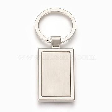 Platinum Rectangle Iron+Alloy Key Chain