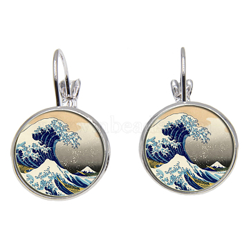 Brass Leverback Earrings, with Picture Glass, Flat Round with Pattern with Sea Wave, Silver Color Plated, Blue, 28mm; Pin: 0.8mm(EJEW-O088-25)