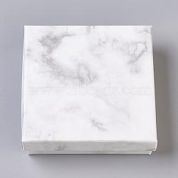 Paper Cardboard Jewelry Boxes, Square, White, 9.1x9.1x2.9cm(CBOX-E012-02A)