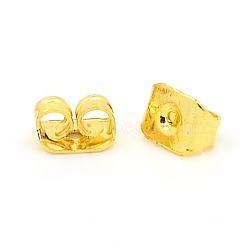 Iron Ear Nuts, Earring Backs, Nickel Free, Golden, about 6mm long, 3.5mm wide, 2.5mm high, hole: 0.7~1.0mm(X-E034Y-NFG)
