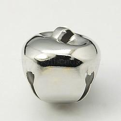 Tonalité de platine 20 pcs de décoration de Noël pendants de cloche de fer, 18x18x18mm, Trou: 5x3mm(X-IFIN-H055-N)