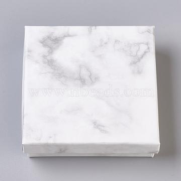 Paper Cardboard Jewelry Boxes, with Black Sponge Mat, Square, White, 9.1x9.1x2.9cm(CBOX-E012-02A)