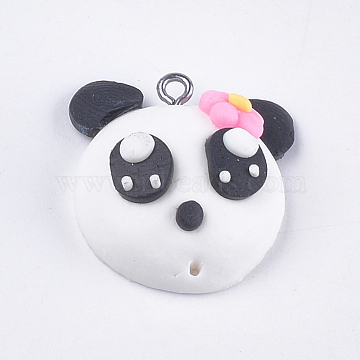 Platinum White Panda Polymer Clay Pendants