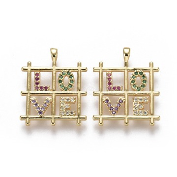 Brass Micro Pave Cubic Zirconia Pendants for Valentine's Day, Grids with Word Love, Colorful, Real 18K Gold Plated, 20x16.5x1.5mm, Hole: 1.5x2mm(X-ZIRC-F115-06G)
