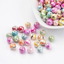 Perles acryliques ab vague de couleur imprimés, rond, couleur mixte, 8mm, trou: 2 mm; environ 1800 pcs / 500 g(MACR-Q151B-M)