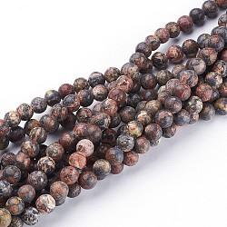 15~16 brin de pierres précieuses rondes, jaspe en peau de léopard rouge, trou: environ 0.8 mm(X-GSR6mmC066)