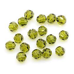 perles de cristal autrichien, 8 mm ronde à facettes, olive, trou: 1 mm(X-5000_8mm228)