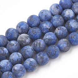 jaspe de sésame naturel / perles de jaspe kiwi, givré, teints et chauffée, arrondir, bleu, 8 mm, trou: 1 mm; environ 47 perle / brin, 15.5(G-T106-343A)