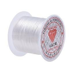 Chaîne de cristal élastique plat, fil de perles élastique, pour la fabrication de bracelets élastiques, teint, blanc, 0.8mm, 11m/rouleau(X-EW014)