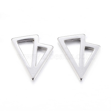 304 Stainless Steel Ear Fake Plugs, Ear Studs, Hypoallergenic Earrings, Triangle, Stainless Steel Color, 11mm; pin: 1mm(EJEW-K043-06P)