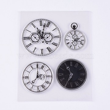 Silicone Stamps, for DIY Scrapbooking, Photo Album Decorative, Cards Making, Clock, Clear, 41~54x31~54mm(X-DIY-L010-Y81)