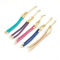 """Fabrication de bracelet imitation cordon en peau de mouton, avec accessoires en laiton, or, couleur mixte, 6-1/4"""" (16cm); 3mm, Trou: 2mm(MAK-E666-08G)"""