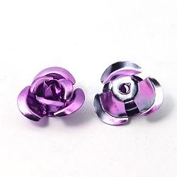 Fleur rose en aluminium, perles métalliques minuscules, blueviolet, 10x6.5mm, trou: 1 mm; environ 920~950 PCs / sachet (AF10mm015Y)