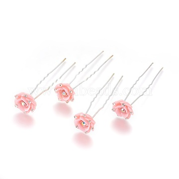 Silver Pink Resin Hair Forks