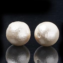 perles de coton japonaises comprimées, écologique, teints, arrondir, Floralwhite, 16~16.5 mm, trou: 1.5 mm(X-WOVE-S114-16mm-12)