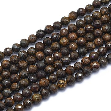 Natural Bronzite Beads Strands, Round, Faceted(128 Facets), 6mm, Hole: 0.8mm; about 64pcs/strand, 15.35 inches(39cm)(G-K310-A13-6mm)