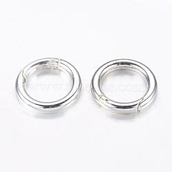 bagues à ressort en alliage, o bagues, plaqué argent, 25x4 mm, trou: 16.5 mm(X-PALLOY-J495-05S)