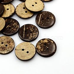 Boutons de noix de coco, 2-trou, plat rond, coconutbrown, 20x2.5mm, Trou: 2mm(COCO-I002-096)