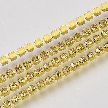 Yellow Brass+Rhinestone Rhinestone Chains Chain