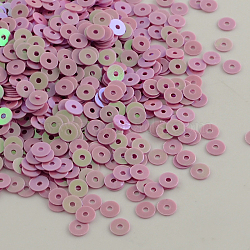 Perles de paillette de forme disque en plastique,accessoires ornement, perles de paillettes, pearlpink, 6mm, Trou: 0.5mm(X-PVC-Q014-6mm-21)