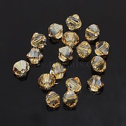 Austrian Crystal Beads, 5301 5mm, Bicone, Golden Shadow, Size: about 5mm long, 5mm wide, Hole: 1mm(X-5301-5mm001GSHA)