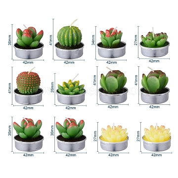 Cactus Paraffin Smokeless Candles, Artificial Succulents Decorative Candles, with Aluminium Containers, for Home Decoration, Mixed Color, 15.6x10.3x10.3cm; 12pcs/set(DIY-G024-D)