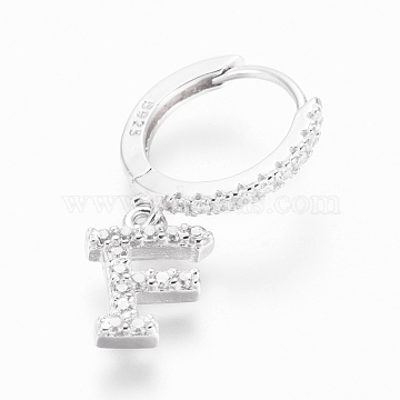 925 Sterling Silver Hoop Earrings, Dangle Earrings, with Cubic Zirconia, Carved with S925, Letter, Clear, Platinum, Letter.F, 19.5mm; Pendants: about 8.5x6.5x1.5mm; Pin: 0.6mm(EJEW-D251-F-P)