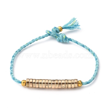 Beaded Bracelets, with Brass Crimp Beads Covers, Non-magnetic Synthetic Hematite Beads and Cotton Braided Cords, Golden, Light Sky Blue, 8-3/8 inches(21.3cm)(BJEW-JB05458-03)